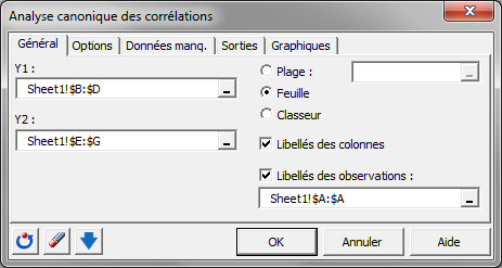 corrélations canoniquesanalysis software