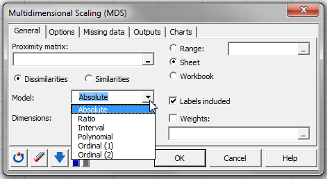 Multidimensional Scaling in XLSTAT dialog box