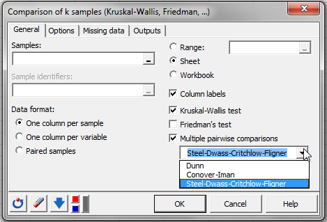 thesis using kruskal-wallis statistics I found out that there is a handy option in the kruskal-wallis test, to do pairwise comparison between groups, in spss version 22 anyone knows what statistics does it use.