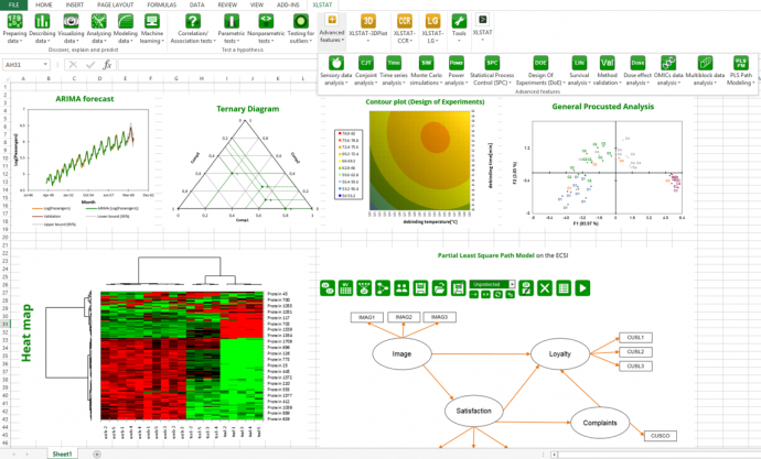 XLSTAT is a complete data analysis and statistics add-in for Excel. It includes regression (linear, logistic, nonlinear), multivariate data analysis, parametric tests, non parametric tests, ANOVA, ANCOVA, forecasting methods.