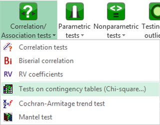correlation association tests menu