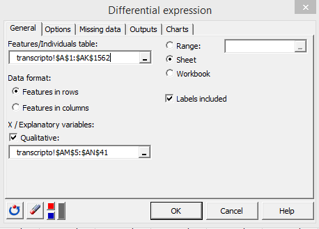 differential expression general tab