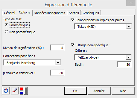 differential expression options tab