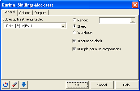 dialog box durbin test general