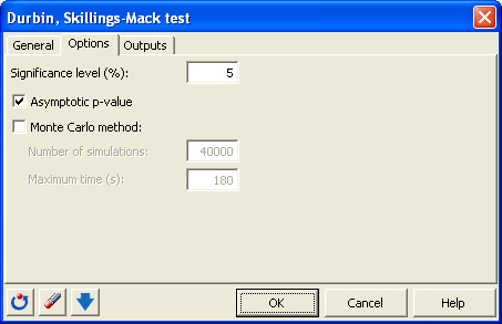 dialog box durbin test options