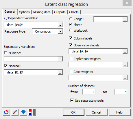 lg regression dialog box filled