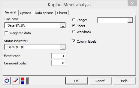Kaplan Meier Dialog box general tab
