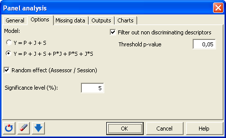 panel dialog box options