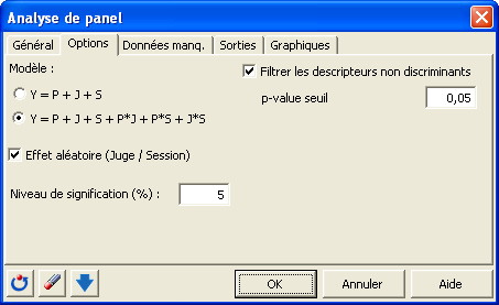 boite de dialogue panel options