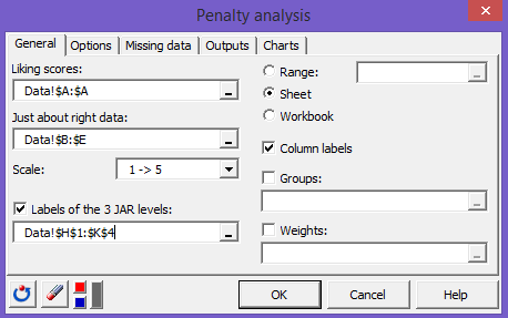 penalty analysis XLSTAT general tab