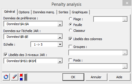 penalty analysis dialog box general XLSTAT fr