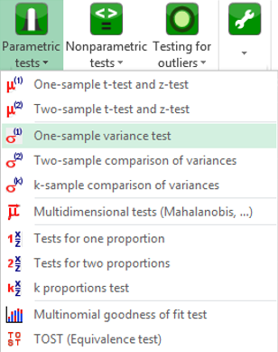 xlstat parametric tests menu