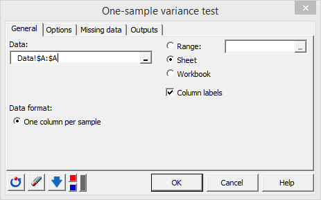 XLSTAT one sample variance test, general tab