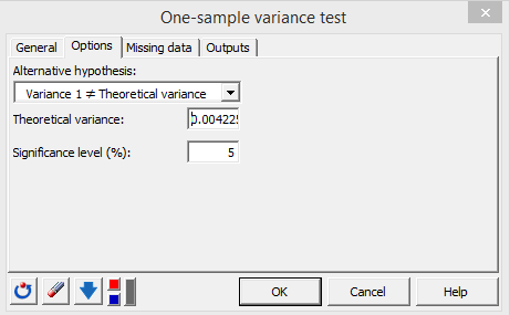 xlstat one sample variance test, options tab