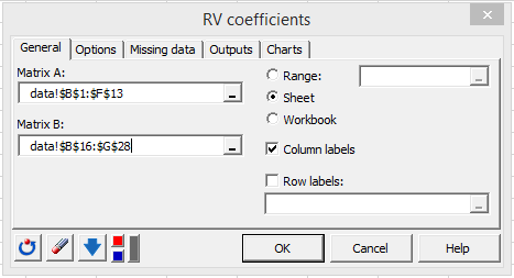 RV coefficient dialog box