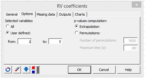 RV dialog box options tab