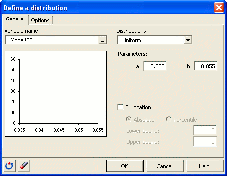 Simulation: Define a distribution dialog box
