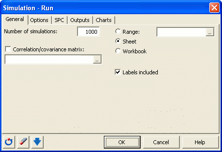 Simulation: Run dialog box