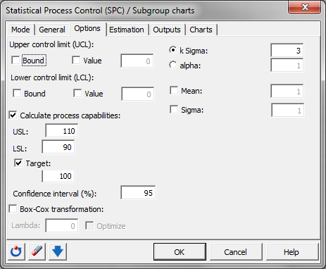 Subgroup charts: Dialog box - Options
