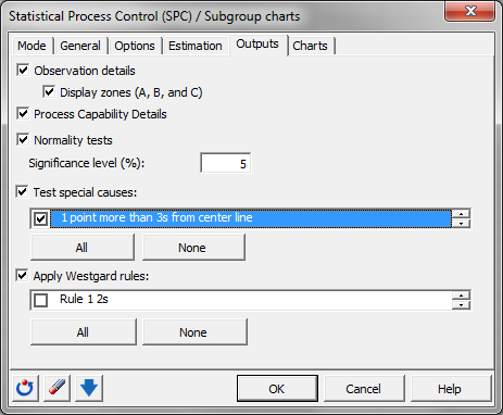 Subgroup charts: Dialog box - Estimation
