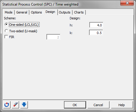 Time weighted control chart: Dialog box - Design