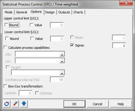 Time weighted control chart: Dialog box - Options