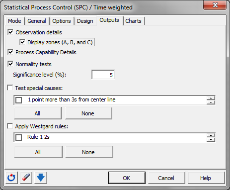 Time weighted control chart: Dialog box - Outputs