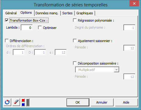 time series transformation dialog box