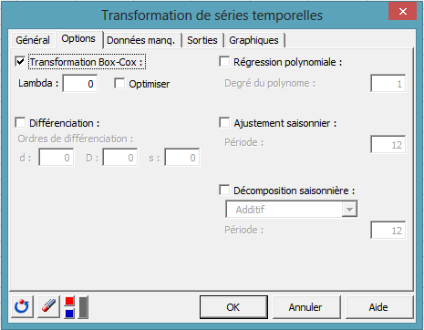 time series desc transformation dialog box 1