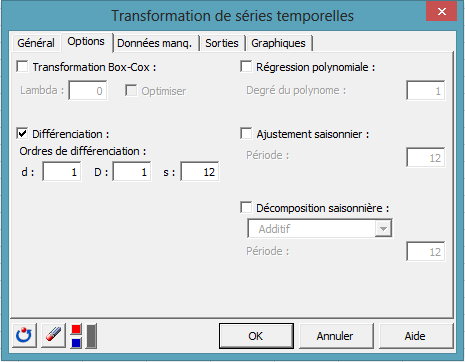 time series transform dialog box