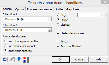 two sample t test dialog box, general tab
