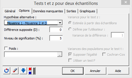 two sample t test dialog box options tab