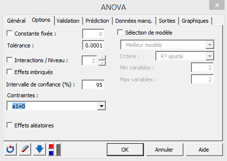 ANOVA options